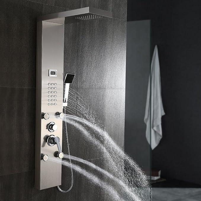 Auralum Pannello LCD Colonna Doccia Idromassaggio in acciaio inossidabile Multifunzione doccia a pioggia e doccetta