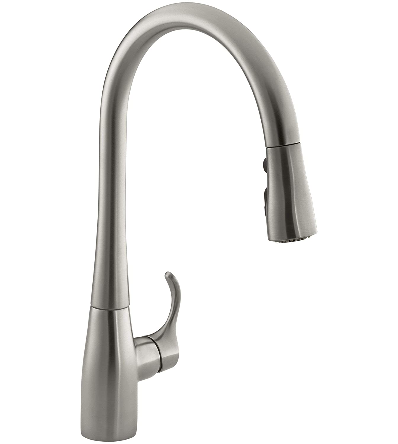 KOHLER K-596-VS Simplice Single-hole Pull-down Kitchen Faucet, Vibrant Stainless (Certified Refurbished)