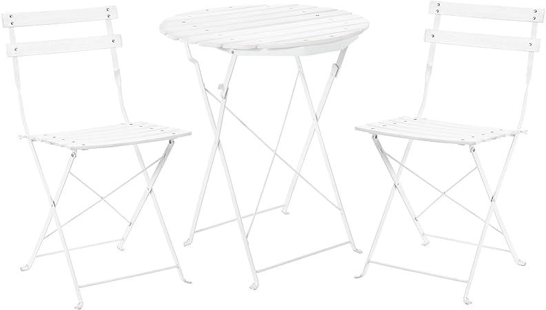 [casa.pro] Set Bistro de Madera (Mesa + 2 sillas) Juego de Muebles de jardín, balcón - Blanco: Amazon.es: Hogar