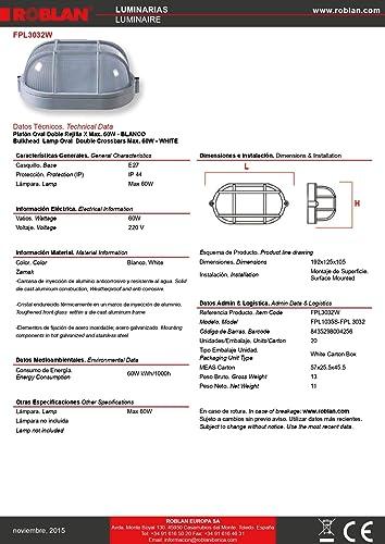 Aplique de Pared 7440 B , E27, 60 watts, Blanco: Amazon.es ...