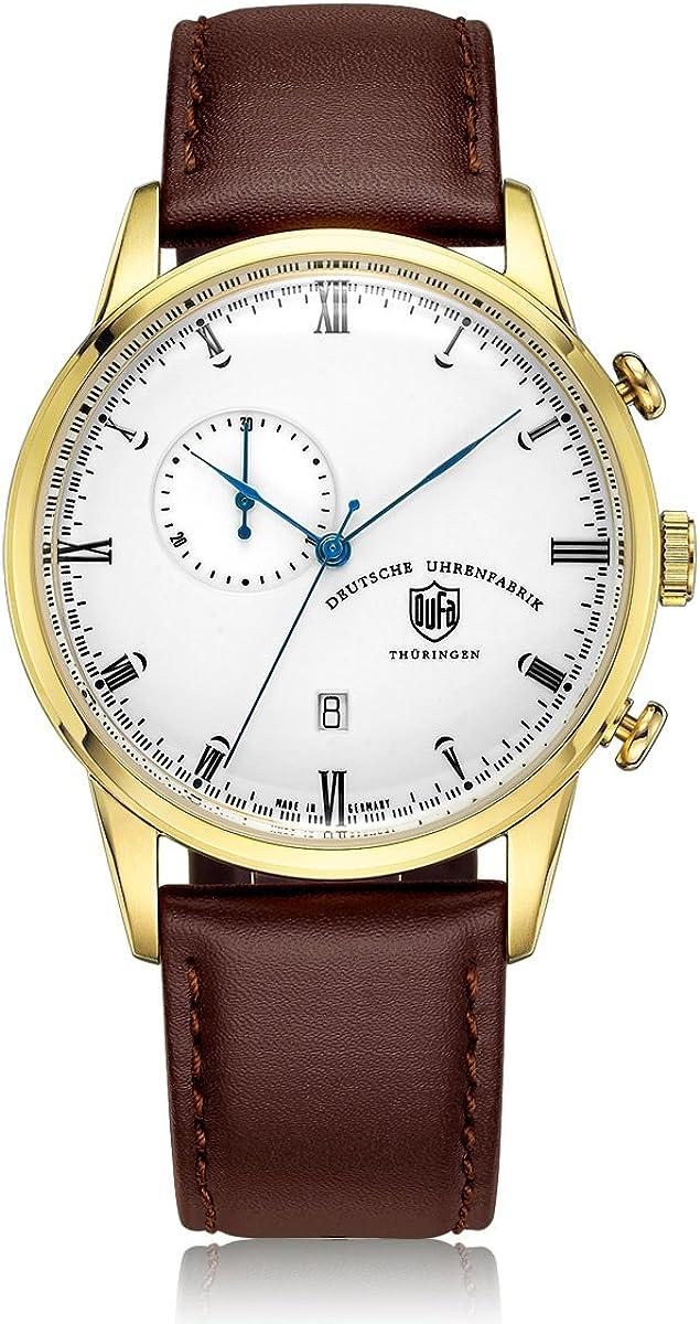 Reloj Cuarzo Dufa Deutsche Uhrenfabrik para Unisex con Blanco Cronógrafo Y Marrón Cuero Weimar Chrono DF-9007-04 Quartz