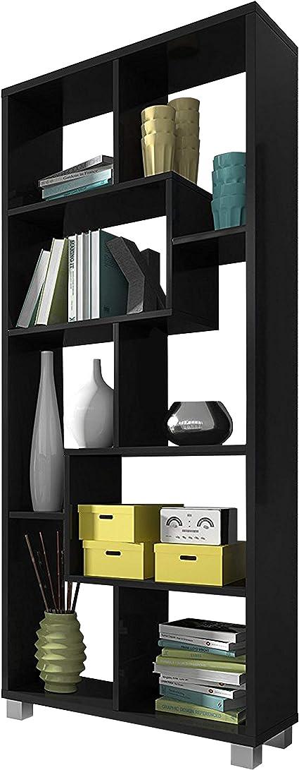 SelectionHome Estantería Multiposición, Librería para Salón o Oficina, Modelo Deluxe, Color Negro Mate, Medidas: 68,5 cm (Ancho) x 161 cm (Alto) x 25 ...