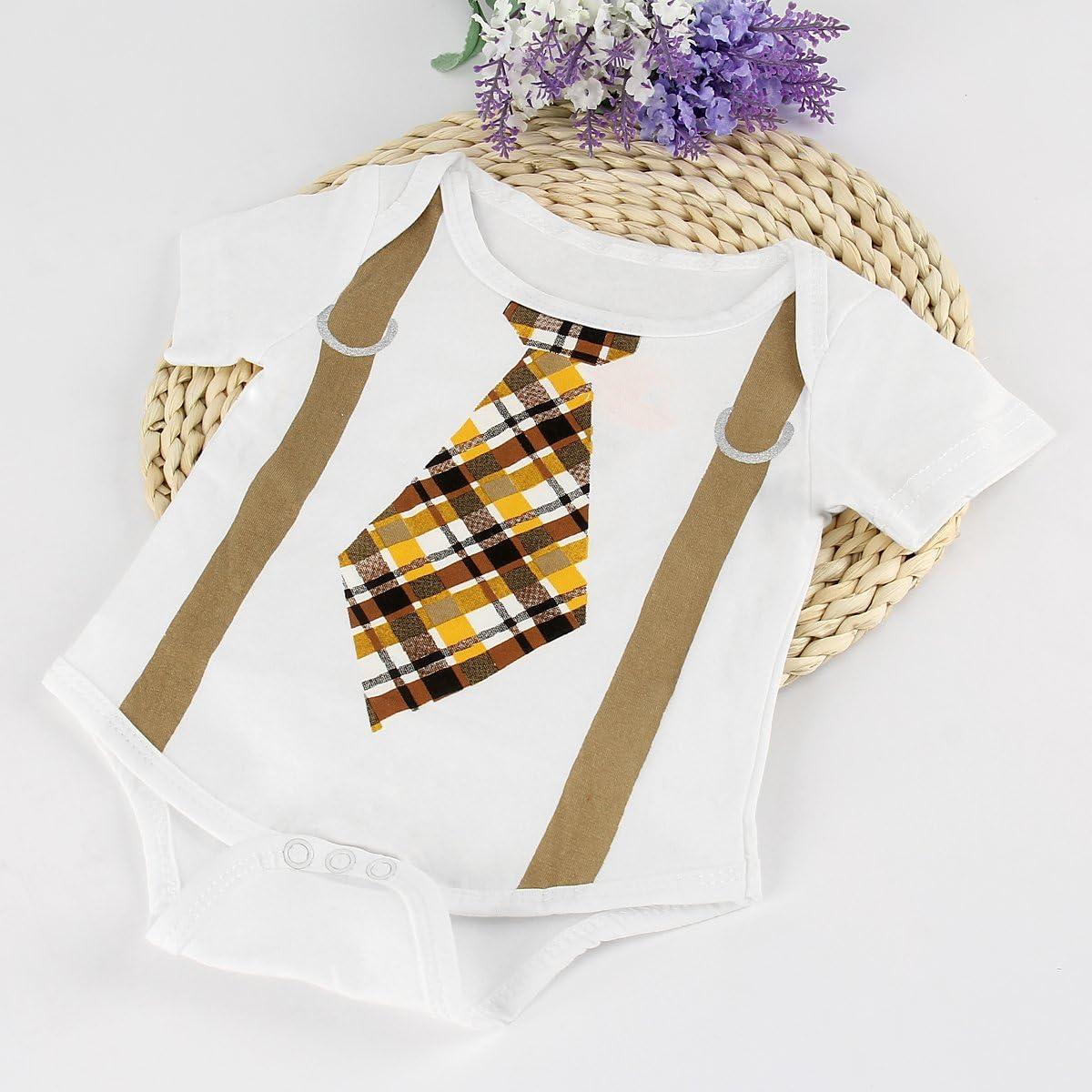 puseky Pelele de bebé recién nacido niños corbata Impresión Mono ...