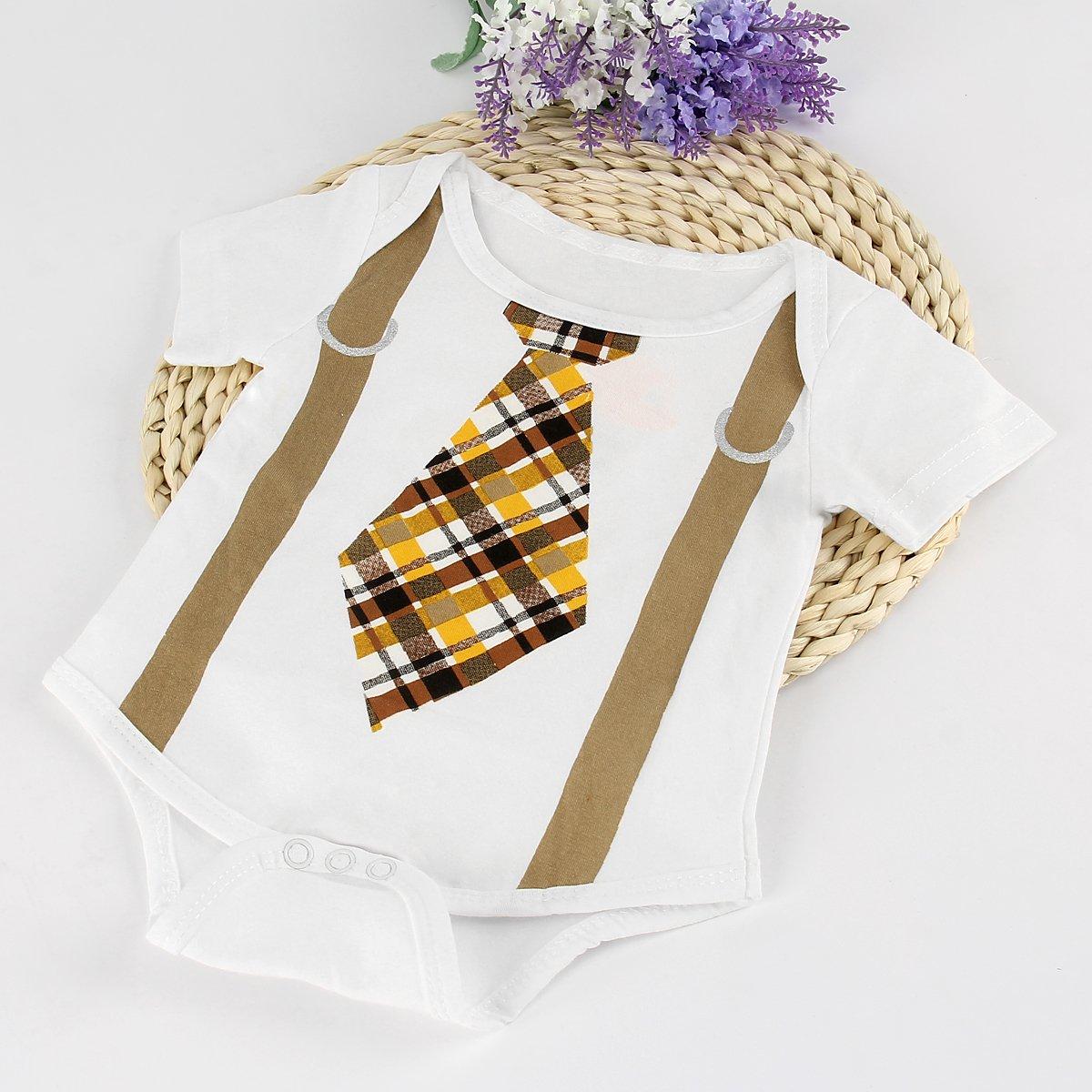 puseky Pelele de bebé recién nacido niños corbata Impresión Mono de manga corta Body de ropa blanco blanco Talla:3-6 meses: Amazon.es: Bebé