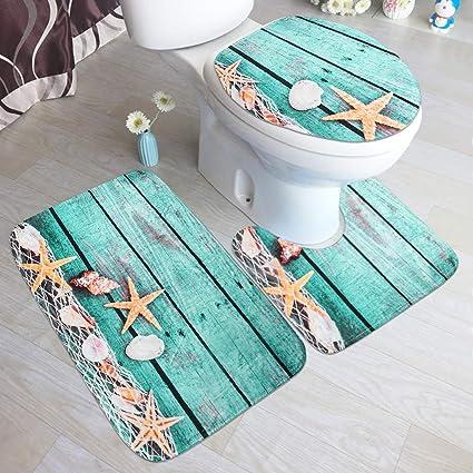 Loneflash Halloween Pumpkin Toilet Floor Mat Set Three-Piece Toilet Mat Series Exquisite Print Bathroom Accessories Halloween Decor