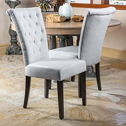 Ordinaire Modern Home Venetian Dining Room Chairs (Set Of 2) Light Grey Fabric
