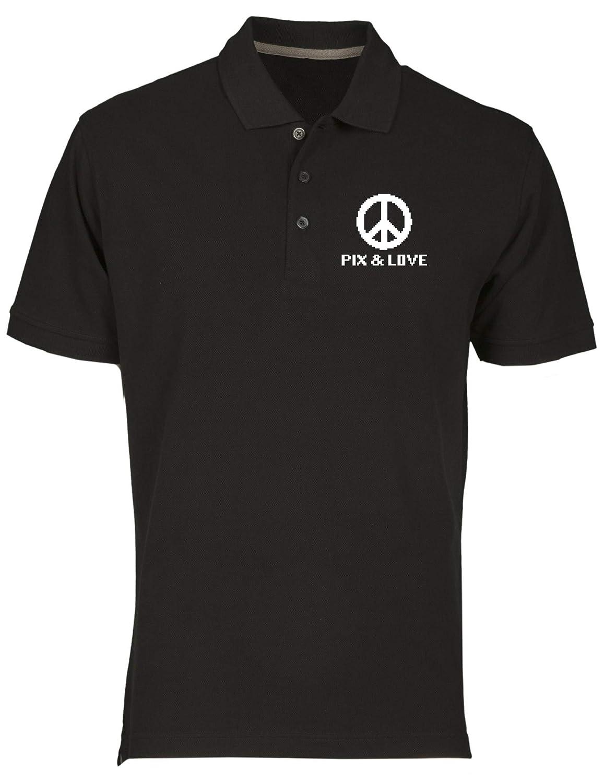 T-Shirtshock Polo Uomo Nero FUN3187 pix y Amor