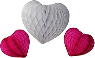 product image for Set of 3 Honeycomb Tissue Paper Valentine's Heart Decorations (White/Cerise)