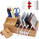 Pezin & Hulin Bamboo Charging Station, Multiple Devices Organizer for Phones,Tablet, Office Desktop Wooden Docking…