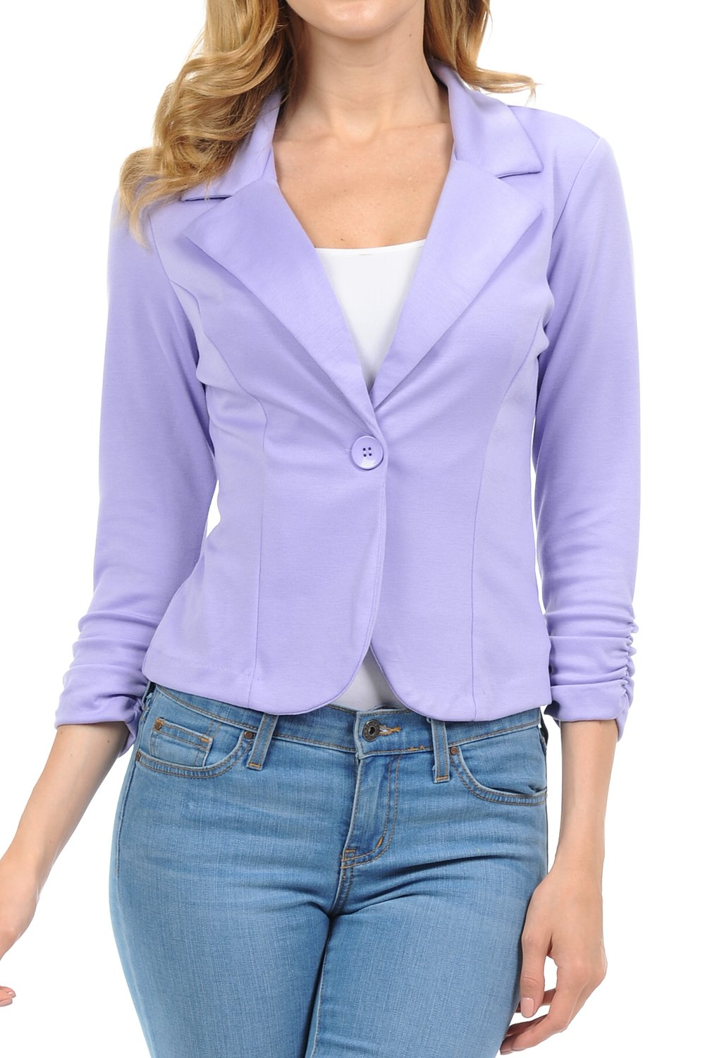 YourStyle Casual Work Solid Color Blazer-S-3XL-MADE in USA (Large, Lavender)