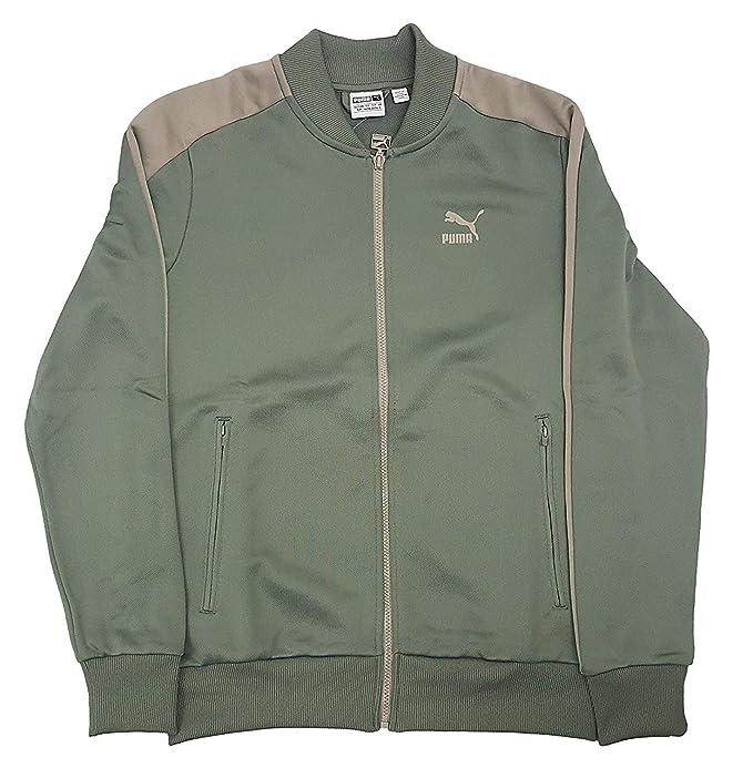 99b4bba6ece4 PUMA Men s T7 Bomber Jacket Agave Green Vintage Khaki Outerwear ...