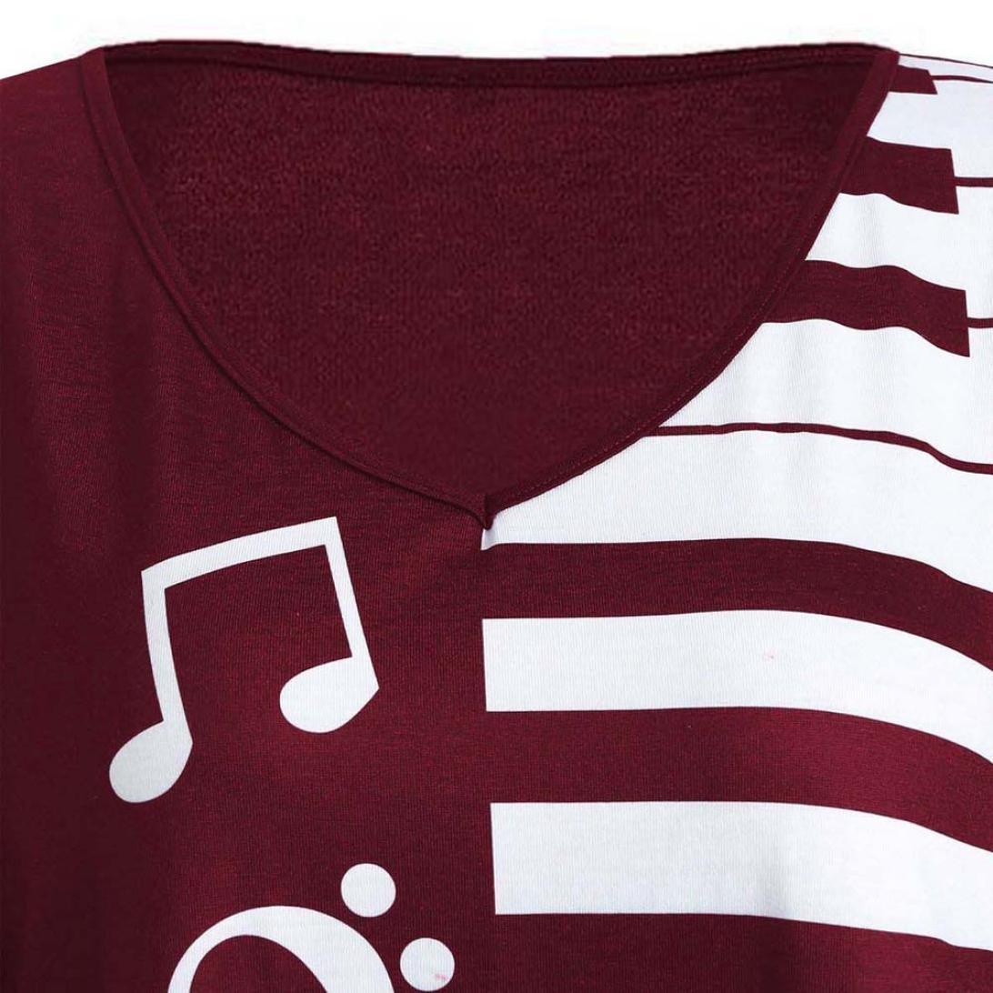 Nota Musical Impreso Blusa Tops Mariposa LILICAT Camisetas Talla Grande Mujer Moda Camiseta Imprimirde Tops Blusa de Manga Larga Holgada