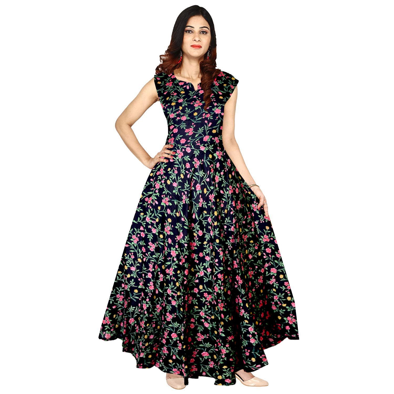 Buy Mudrika Women's Rayon Digital Printed Flare Long Gown Dress  (Multicolour, Free Size) at Amazon.in
