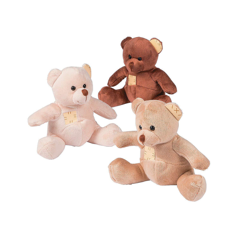 Fun Express - Suede-Like Patchwork Plush Bears - Toys - Plush - Bean Bag Animals - 12 Pieces by Fun Express
