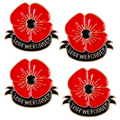 Poppy Brooches Pin Red Black Flower Remeber Pins Veterans Day Memorial Day
