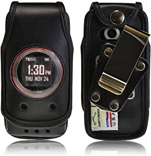 product image for Turtleback Fitted Case Made for Casio GzOne Ravine 2 Phone Black Leather Rotating Removable Metal Belt Clip Made in USA