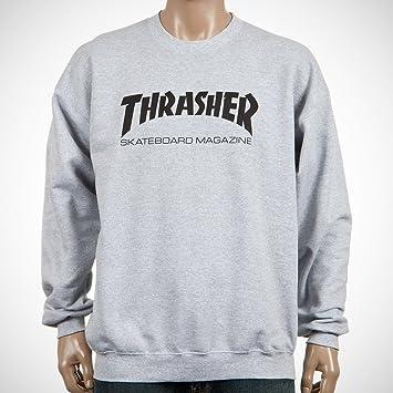c82efcf2873a Thrasher Skateboard Skate Mag Logo Heather Grey Crew Sweater  Amazon.co.uk   Sports   Outdoors