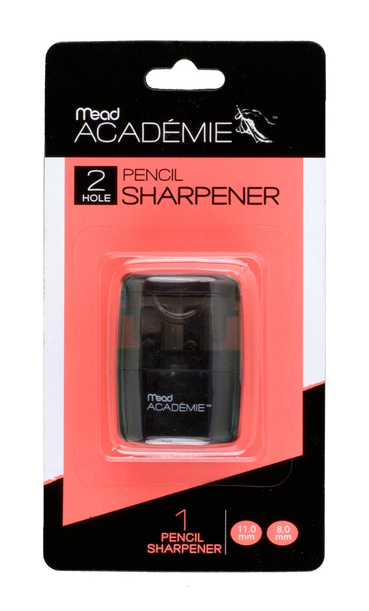 Mead Academie Manual Pencil Sharpener, 1.75 H x 1.25 W Inches, Black (98030)