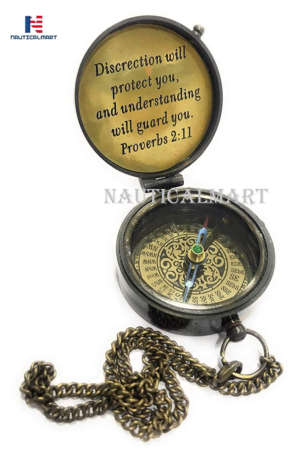 Brass Antique Compass Engraved Discreation Will Protect You - Working Compass, Confirmation Gift Ideas, Baptism Gifts, Birthday, get Well Soon, Graduation Gifts