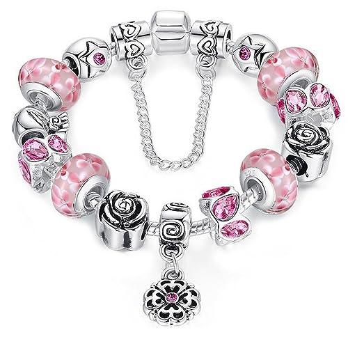 Braccialetto Pandora compatibile con perle in vetro di murano, rosa carino  ciondolo e catenina di