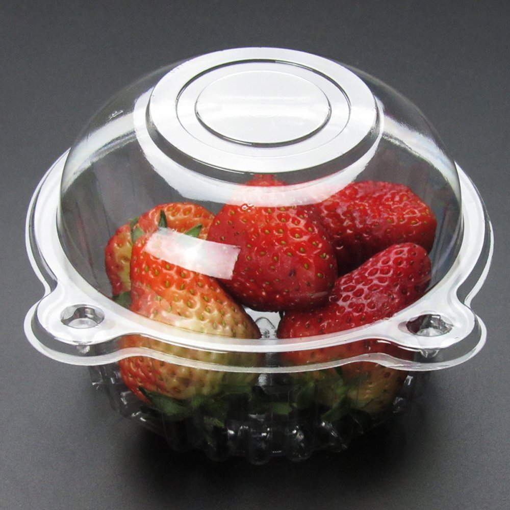 Zhi Jin 100Pcs Disposbale Single Plastic Clear Cup Cake Case Food Boxes Salad Dessert Muffin Holder Set