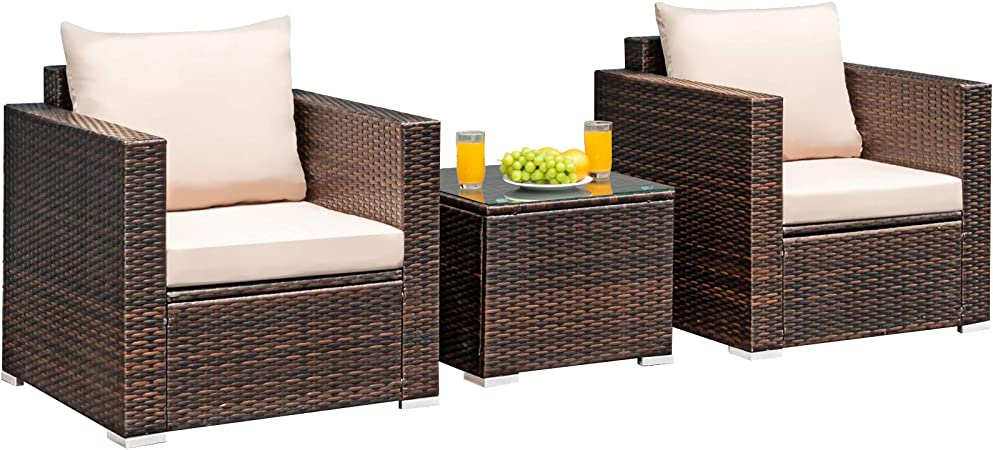 Tangkula 3 Pieces Patio Furniture Set, Outdoor Conversation Rattan Furniture Set w/Washable Cushion and Tempered Glass Tabletop, PE Rattan Wicker Sofa Set for Garden Poolside Balcony