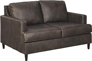 Signature Design by Ashley - Nicorvo Traditional Faux Leather Sofa w/ Nailhead Trim, Coffee Brown