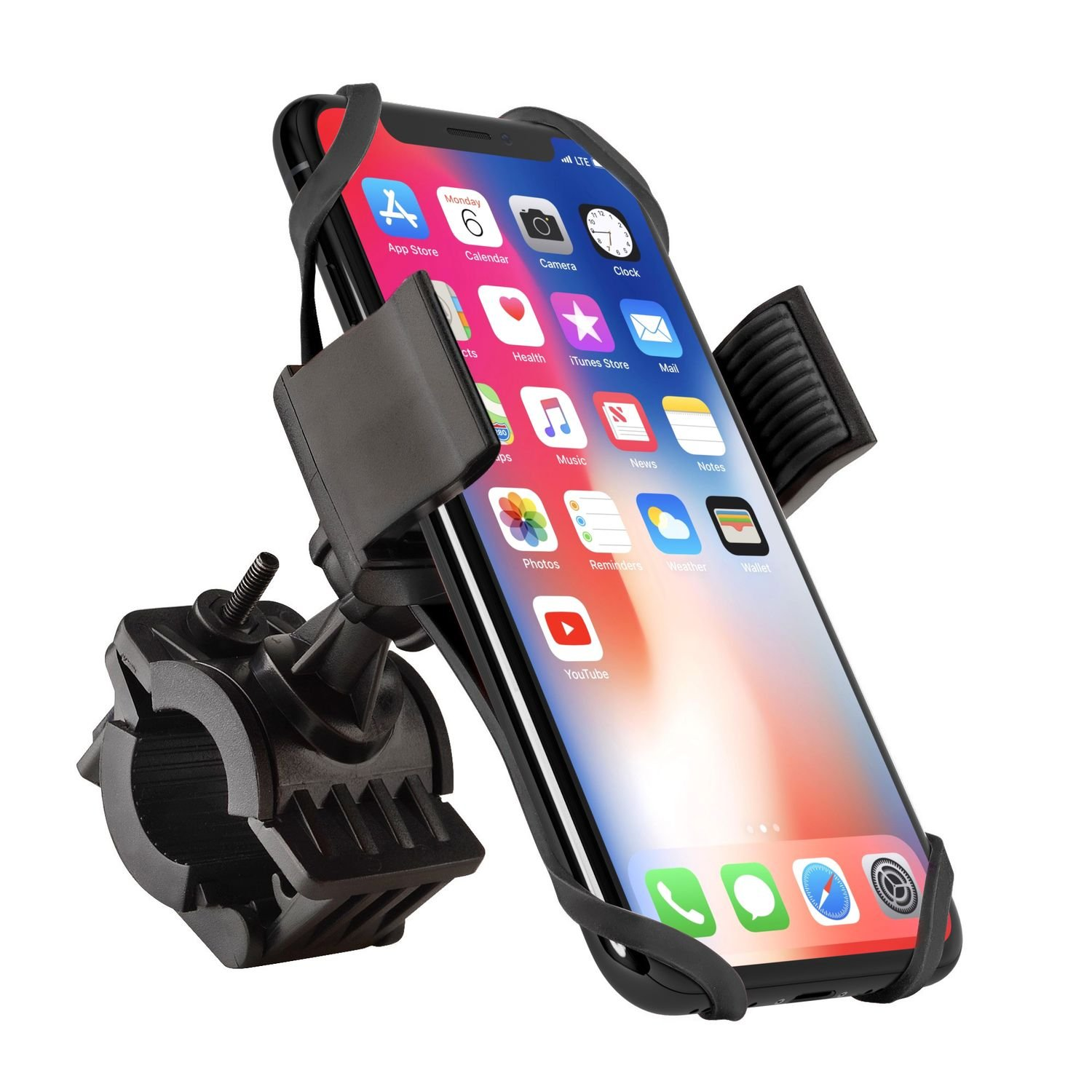 Bike Mount Phone Holder, Insten Universal Bicycle Motorcycle MTB Rack Handlebars Mount Cradle w/Secure Grip 360 Rotatable Rubber Strap Compatible with iPhone X/XS Max/XR/7/8 Plus, Galaxy S9/S9+ Black
