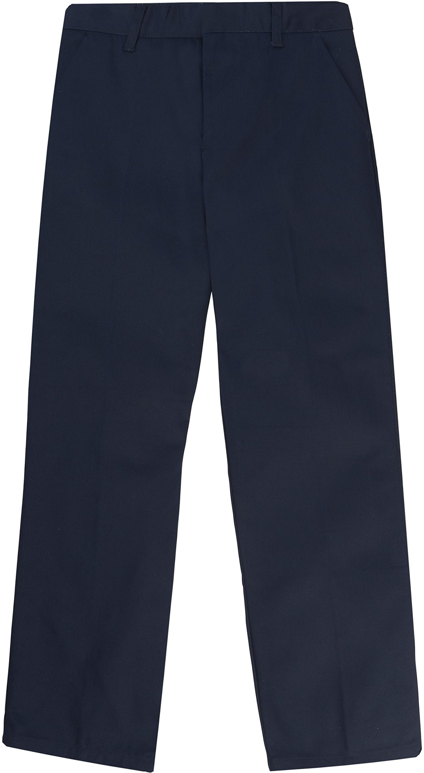 French Toast School Uniform Boys Adjustable Waist Flat Front Workwear Finish Double Knee Pants, Navy, 7 Slim by French Toast