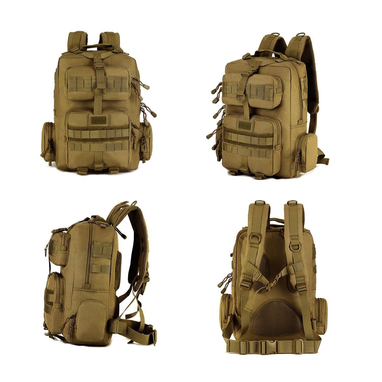 Huntvp 30L Militar Tactical Molle Mochila de Asalto Gran Bolsas Impermeables de Nylon para Senderismo Trekking Etc Color Negro y Marr/ón