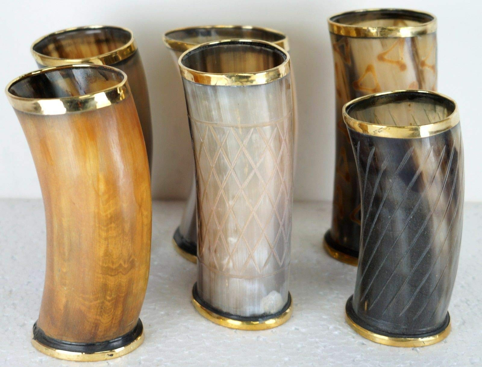GLOBALEXPORTSHUB RONSet of 6 New Viking Drinking Horn Cup Mugs for Beer Wine Mead
