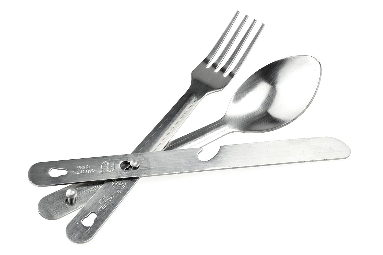 SE KC7043FSK Survivor Series 4-IN-1 Stainless Steel Utensil Set (Spoon, Fork, Knife, Bottle Opener)