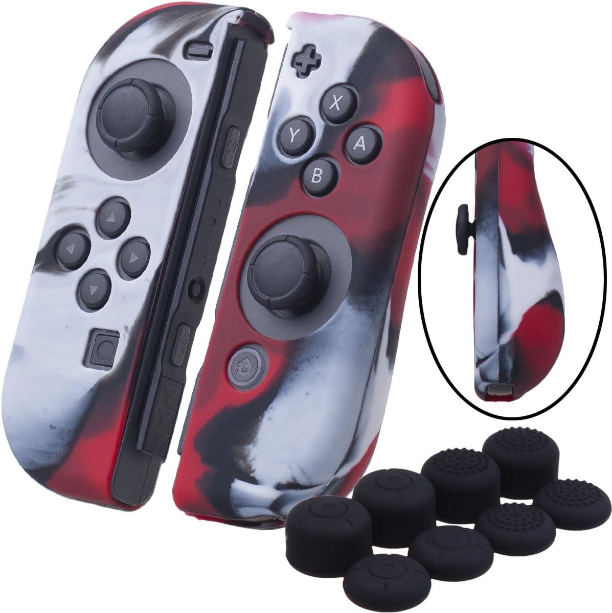 YoRHa Empuñadura silicona caso piel Fundas protectores cubierta para Nintendo Switch/NS/NX Joy-Con Mando x 2 (Camuflaje rojo) Con Joy-Con los puños pulgar thumb gripsx 8: Amazon.es: Videojuegos