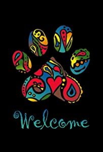 Toland Home Garden Wacky Welcome Paws 12.5 x 18 Inch Decorative Puppy Dog Kitty Cat Pet Rescue Garden Flag