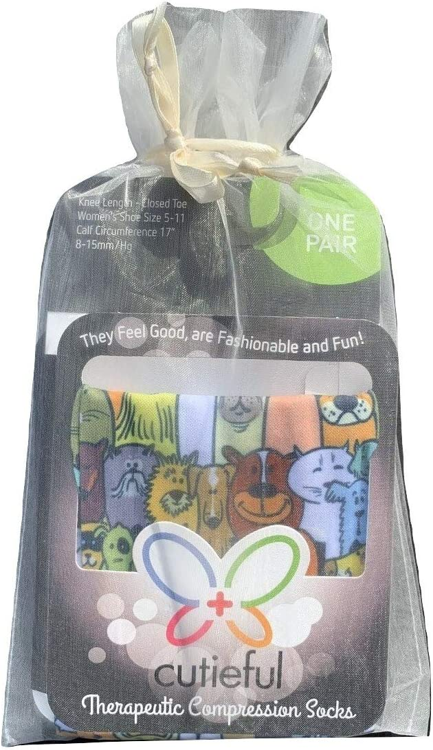 Dog Lovers Therapeutic Compression Socks Bundle of 3 Pairs of Socks in Gift Bag Knee High 8-15 mmHg Nylon Footwear