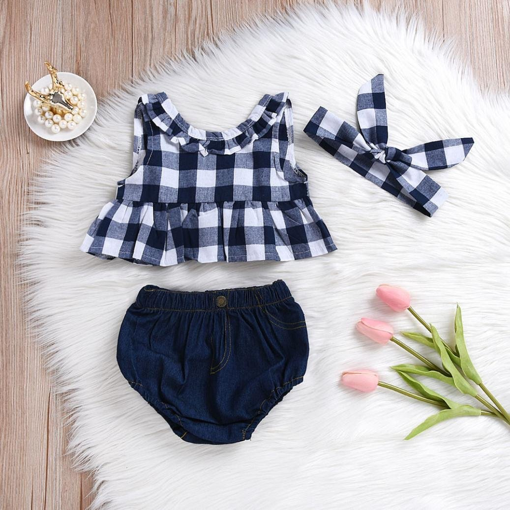 Toddler Baby Girl Summer Plaid Skirted T-Shirt Tops+Denim Shorts Clothes Set for 0-3 T TM Baby Layette Sets,Jchen