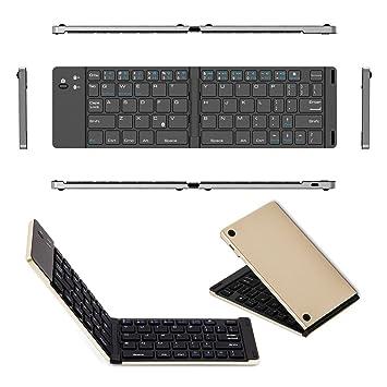 Teclado Bluetooth Teclado Plegable, portátil inalámbrico Ultra Delgado, Teclado Recargable con Soporte para Tableta, Mini Teclado Plegable para ...