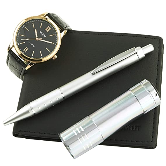 Reloj-Concept-Caja de regalo para reloj de pulsera para hombre bolsillo con lámpara carteras de referencia y bolígrafo, CLP-1146-negro-oro, ...