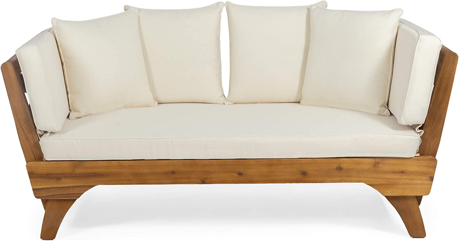 Christopher Knight Home 312937 Patrick Outdoor Acacia Wood Expandable Daybed with Water Resistant Cushions, Teak