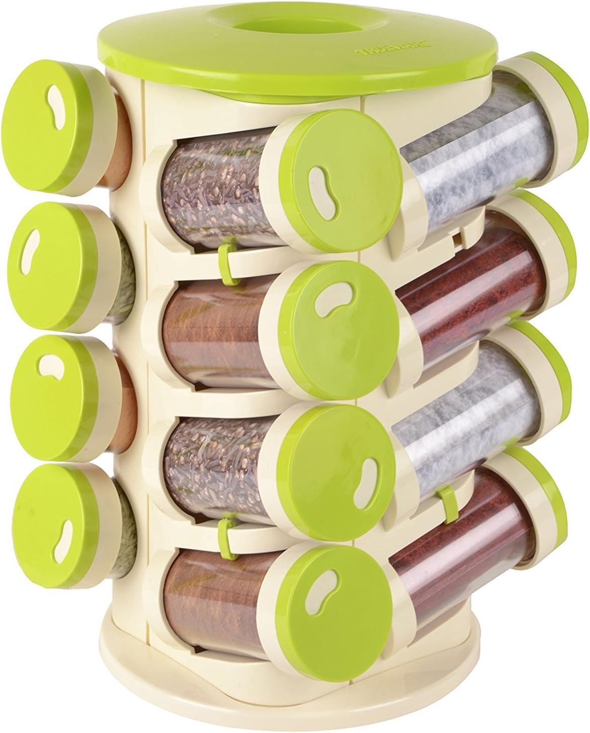 Especias a 16 tarros para especias, salsas, hierbas con caja porta cubiertos y base giratoria 360 °: Amazon.es: Hogar