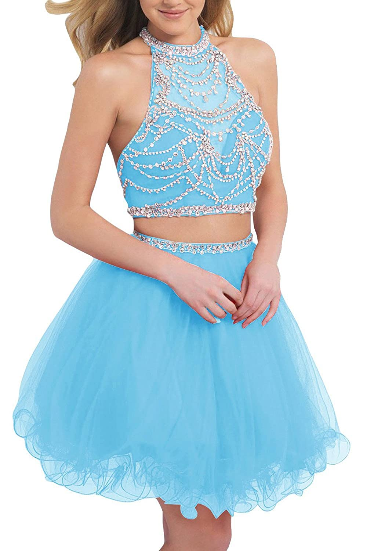 Amazon.com: BessDress Short Two Pieces Prom Dresses Beaded Tulle ...