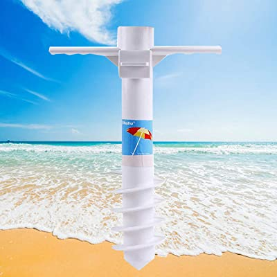 Ohuhu Beach Umbrella Sand Anchor Stand Holder with 5-Tier Screw, One Size Fits All Safe Stand for Strong Wind : Garden & Outdoor