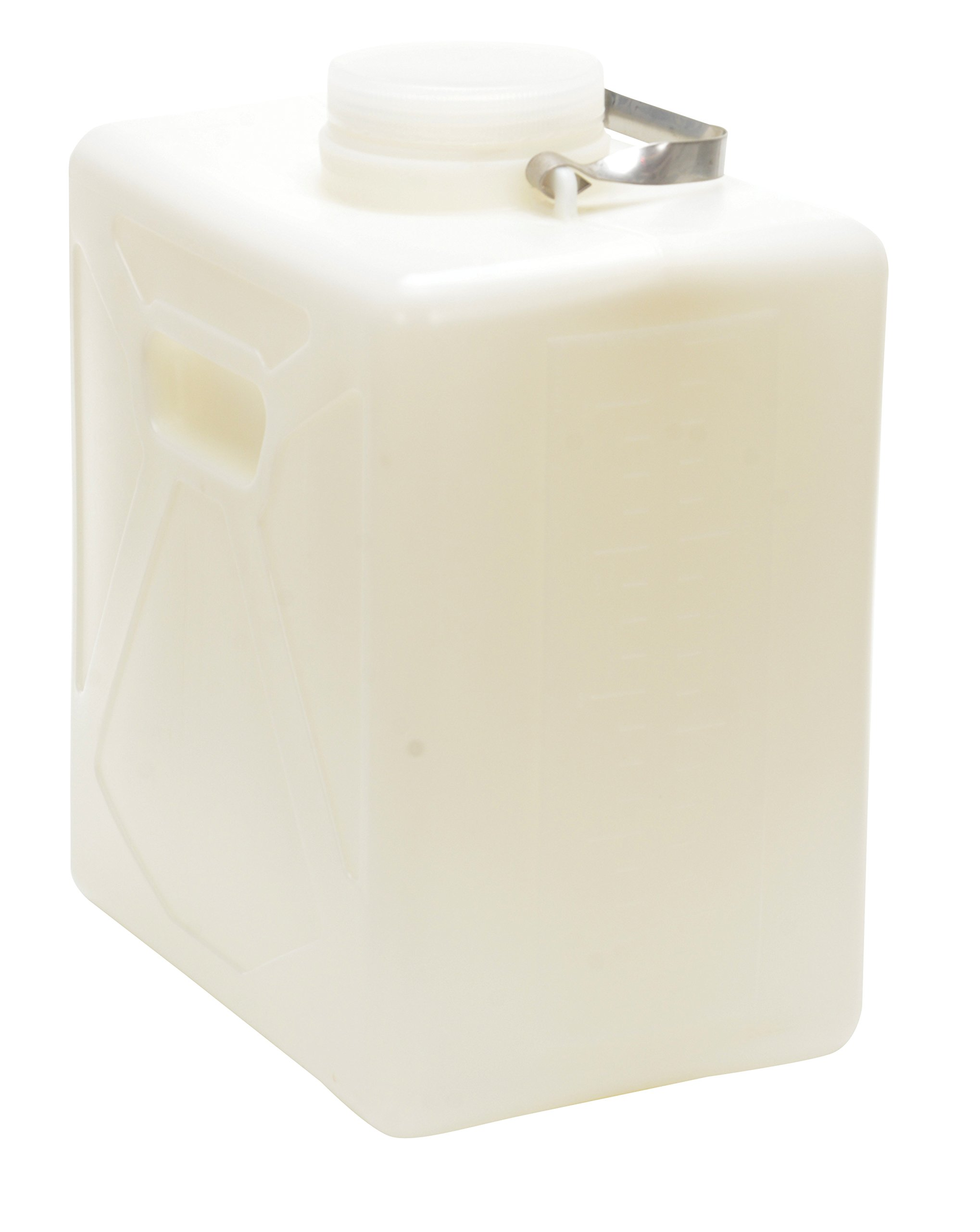 Vestil CARB-5-SSH Wide Mouth High Density Polyethylene (HDPE) Rectangular Carboy with Stainless Steel Handle, 5 Gallon Capacity, Natural