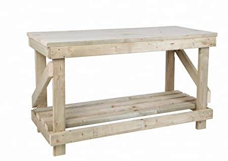 Surprising Mc Timber Products Ltd 5Ft Wooden Work Bench Heavy Duty Strong Solid Wooden Top Creativecarmelina Interior Chair Design Creativecarmelinacom