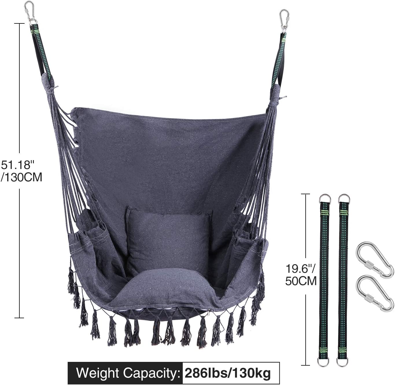 RedSwing Hanging Hammock Chair Quality Cotton Weave for Superior Comfort and Durability Max Load 330Lbs Hanging Rope Swing with 2 Cushions and Hardware Kits