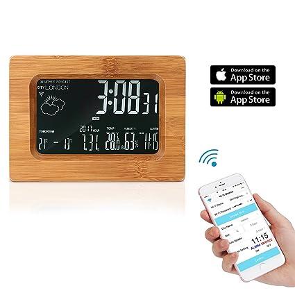 WiFi Estaciones Meteorológicas Reloj Despertador con APP de Control Remoto, AOZBZ Bambú LCD Reloj de Tabla ...
