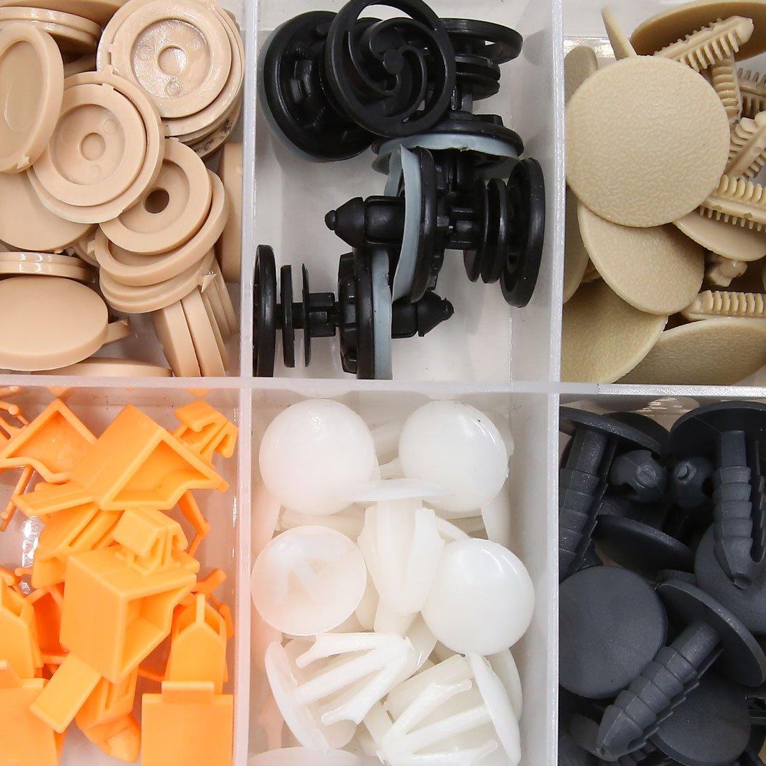 sourcingmap® 201 pcs 12 Tipos Tamaños Surtido Remaches Cierre de Clip de fijación de guardabarros para vehículo Automóvil de puerta de plástico: Amazon.es: ...