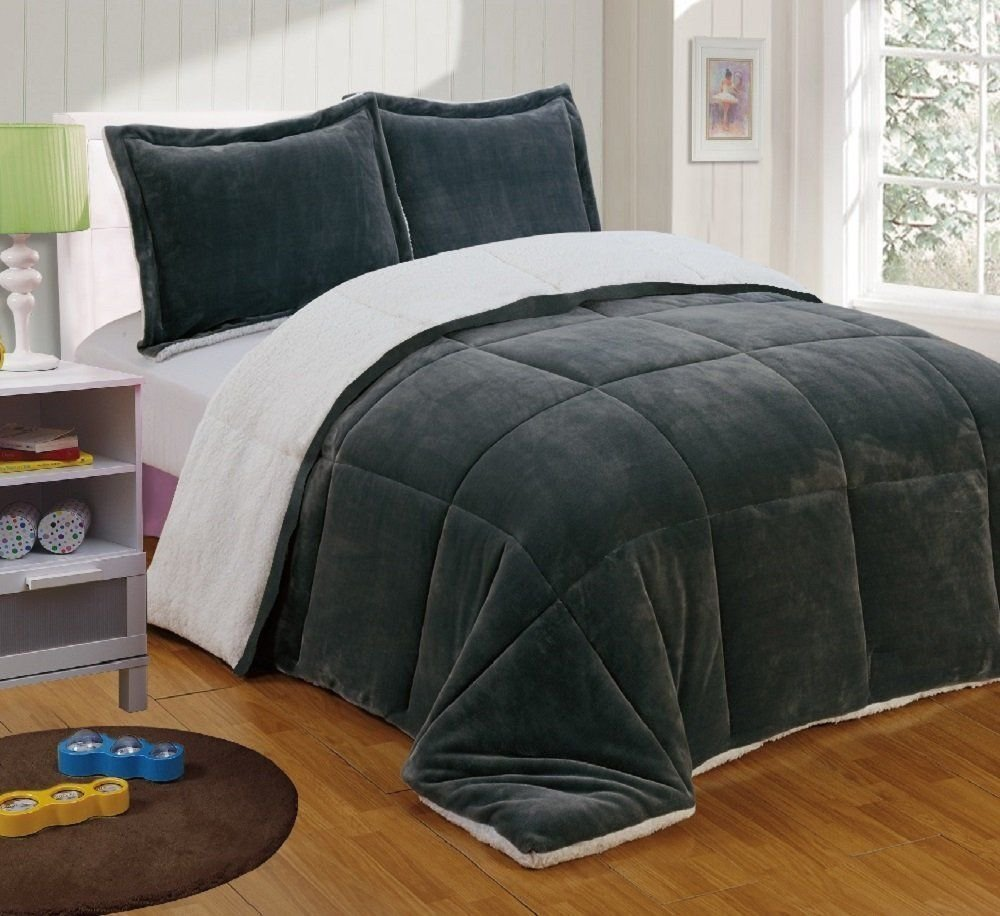 Chezmoi Collection 3-Piece Micromink Sherpa Reversible Down Alternative Comforter Set (Queen, Black) FS200-Com-Black-Queen