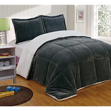 Chezmoi Collection 3-Piece Micromink Sherpa Reversible Down Alternative Comforter Set (King, Gray)