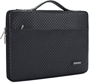 DOMISO 10.1 Inch Waterproof Laptop Sleeve Leather Case Portable Carrying Bag for 10.1-10.5 Inch Laptops/eBooks/Kids Tablet/iPad Pro/iPad Air/Lenovo Yoga Book/Asus/Acer, Bright Black